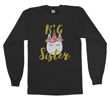 488462d5bf45 Threadrock Big Girls  Unicorn Big Sister Youth Long Sleeve T-Shirt XS Black