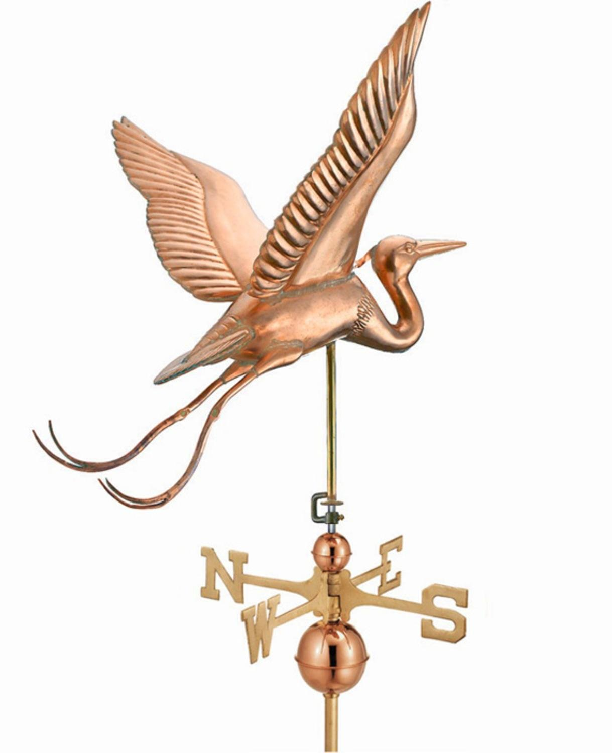 34'' Grand Luxury Polished Copper Great Blue Heron Weathervane