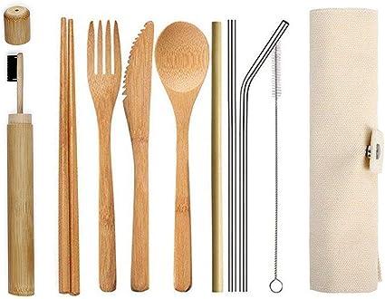 Ecológico Reutilizable Bambú Cubiertos Set,Portátil Madera Cubertería Ideal para Viaje,Fiambrera,Camping   ...