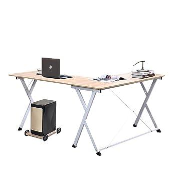 DlandHome L Mesa Escritorio de la computadora 120cm+110cm, Ordenador Portátil para PC Estación de Trabajo de Estudio Mesa de Esquina con CPU Stand, ...
