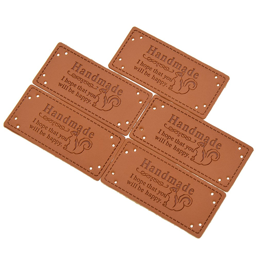 a7af1ebad6e4 Amazon.com: BetterUS 5Pcs PU Leather Label Simple Handmade Embossed ...