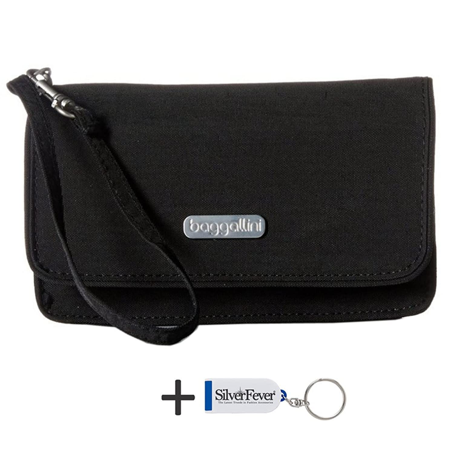 Baggallini RFID Wristlet Wallet with Flap and Key Chain
