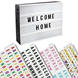 Four Row A3 Cinematic LED Light Box With 90 Letters & Numbers Freestanding Wall Mount Personalised Message Board Light Up Letter Box Wedding Party Cinema Plaque Shop Sign – ASAB