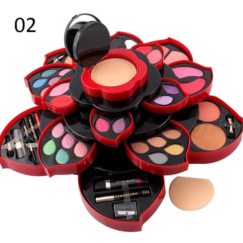 GOD-LOVE Beauty Glazed 46 Colores Eyeshadow Plate Plum Blossom Rotating Set Eye Shadow Box Cosmetic Case Make Up Tools (B)