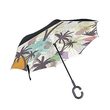MAILIM - Paraguas de Palmas de Coco y Palmas de Color invertido, Doble Capa,