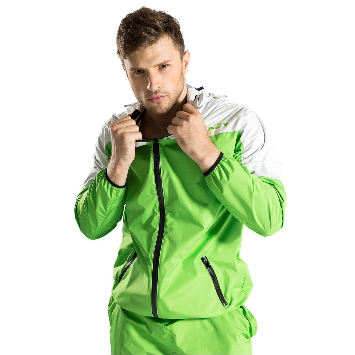 DNRZY Sauna Sweat Suits Weight Loss for Men Body Shaping Running Sport Suits Workout Clothes Fat Burner Fitness Durable Waterproof Hoodie Jacket Paints Suits Gym Training Workout Suits