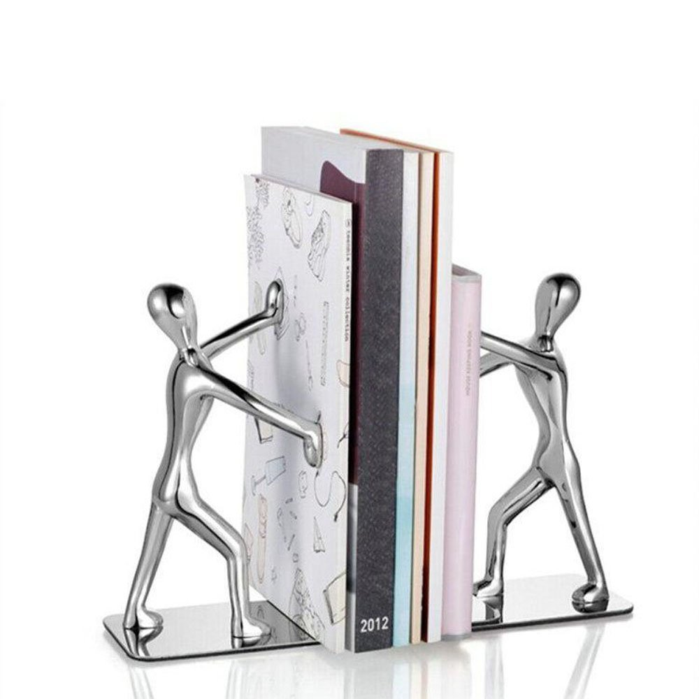 Winterworm Fashion Creative Stainless Steel Decorative Small Humanoid Bookend Pair Kung Fu Kungfu Man Book Organizer Metal Bookends book end book file Home Office Library Decoration Birthday Gift