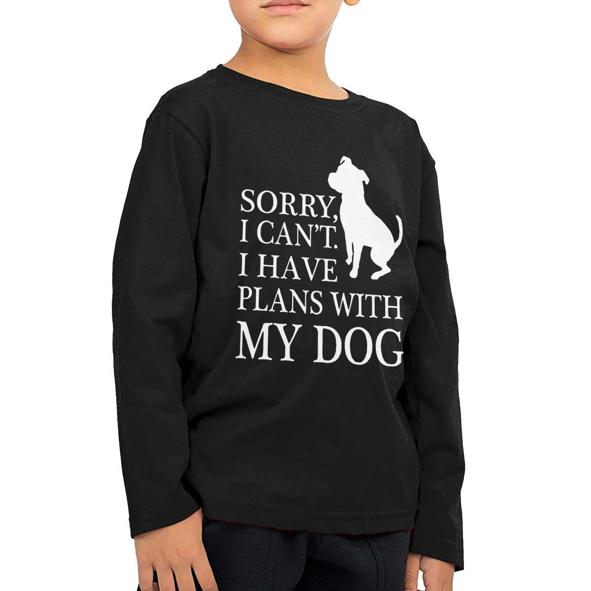 CERTONGCXTS Little Boys Sorry I Have Plans with My Dog Pitbull ComfortSoft Long Sleeve T-Shirt I Cant
