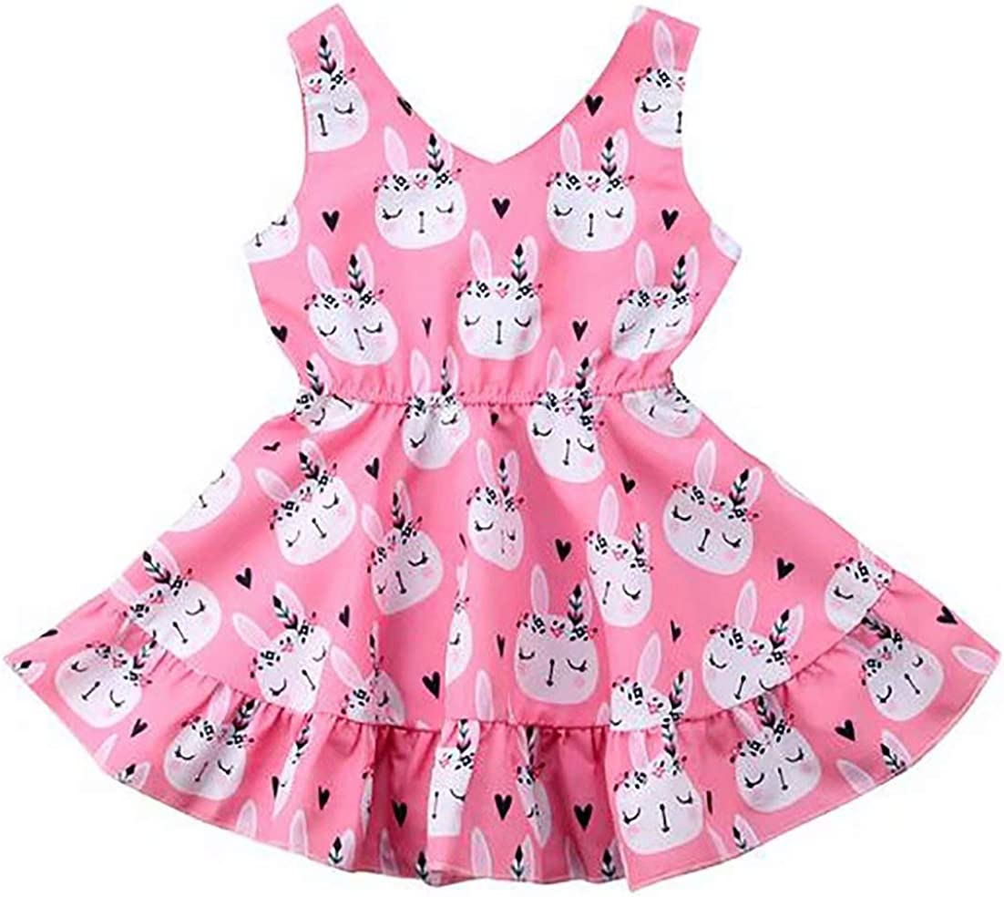 LOTUCY Baby Girl Easter Bunny Print Dress Sleeveless Holiday Party Casual Cute Dress Outfit