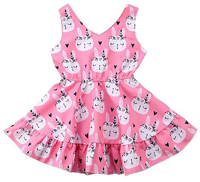 Toddler Kids Baby Girl Easter Cartoon Bunny Clothes Stripe Party Dress Sundress