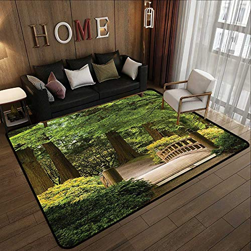 "Rugs for Bedroom,Japanese Decor,Wooden Bridge Over A Pond in Garden Calmness in Shadow of Trees Serenity in Nature,Green Brown 47""x 71"" Bathroom Carpet"