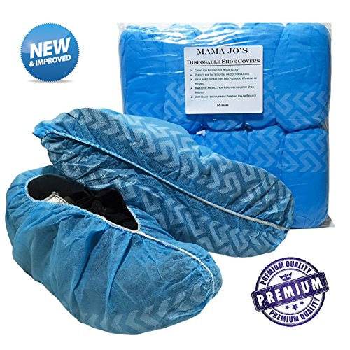 Disposable Shoe Covers - Non Skid Polypropylene Protective Covers for Shoes, Work Boots, Bowling Shoes. Great for The Home, Realtors, Contractors, Plumbers and Car Detailing. (100 Per Pack) 50 Pair