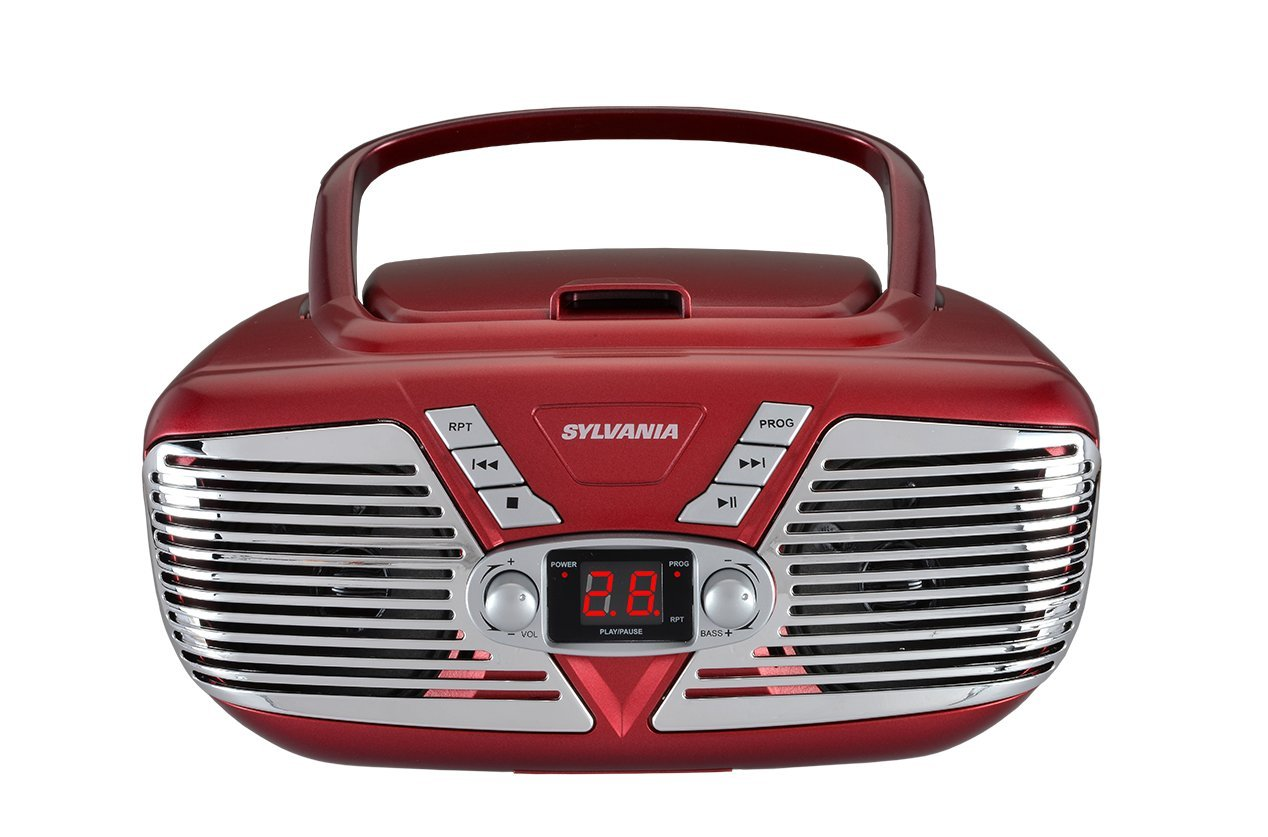 Sylvania Portable CD Boombox with AM/FM Radio, Retro Style, (Green) Curtis International LTD SRCD211-GREEN