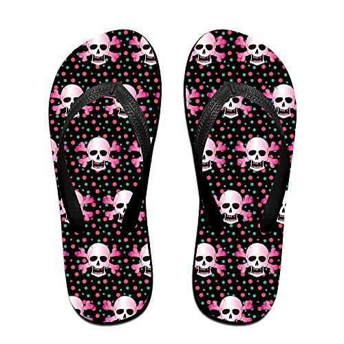 Pink Funny Skull Unisex Fashion Beach Slipper Indoor And Outdoor Classical Flip Flop Thong Sandals L (Tiger Flip Sandals)