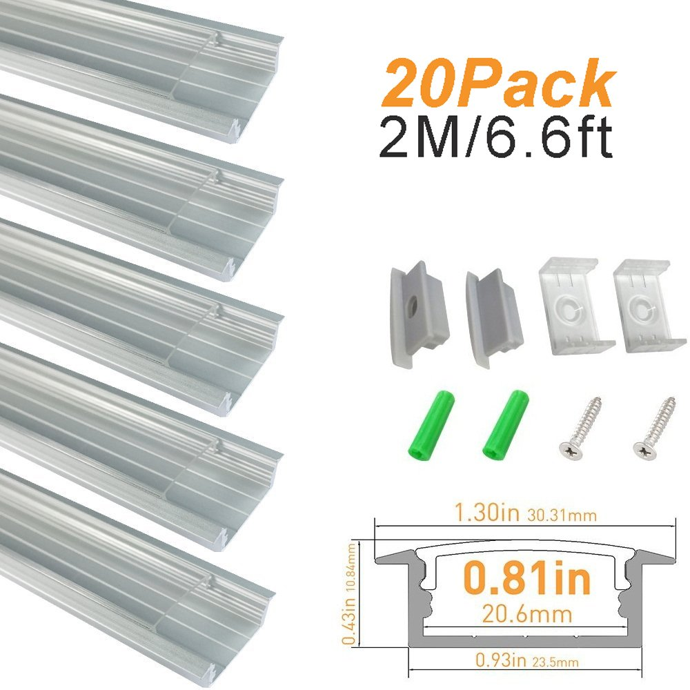 LightingWill Clear LED Aluminum Channel U Shape 6.6Ft/2M 20 Pack Anodized Sliver Track for <20mm 5050 3528 LED Flex/Hard Strip Lights with Covers, End Caps, and Mounting Clips TP-U03S2M20