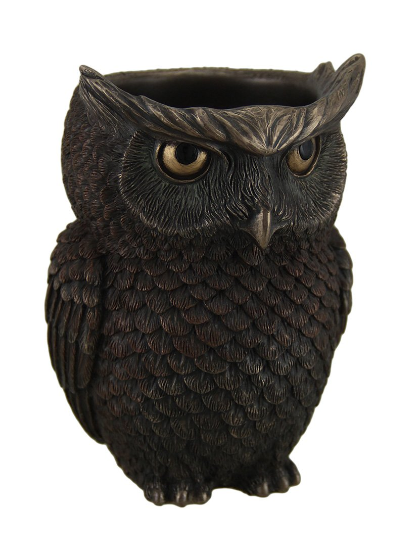 Horned Owl Pen Holder Statue Figurine