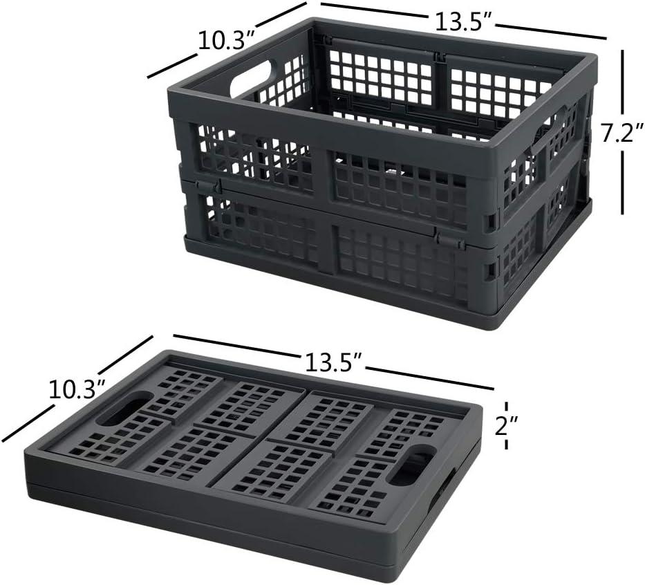 Grey Plastic Crate 2 Packs Ggbin 16 Liter Folding Plastic Containers Office Supplies Kolenik Office Storage Supplies