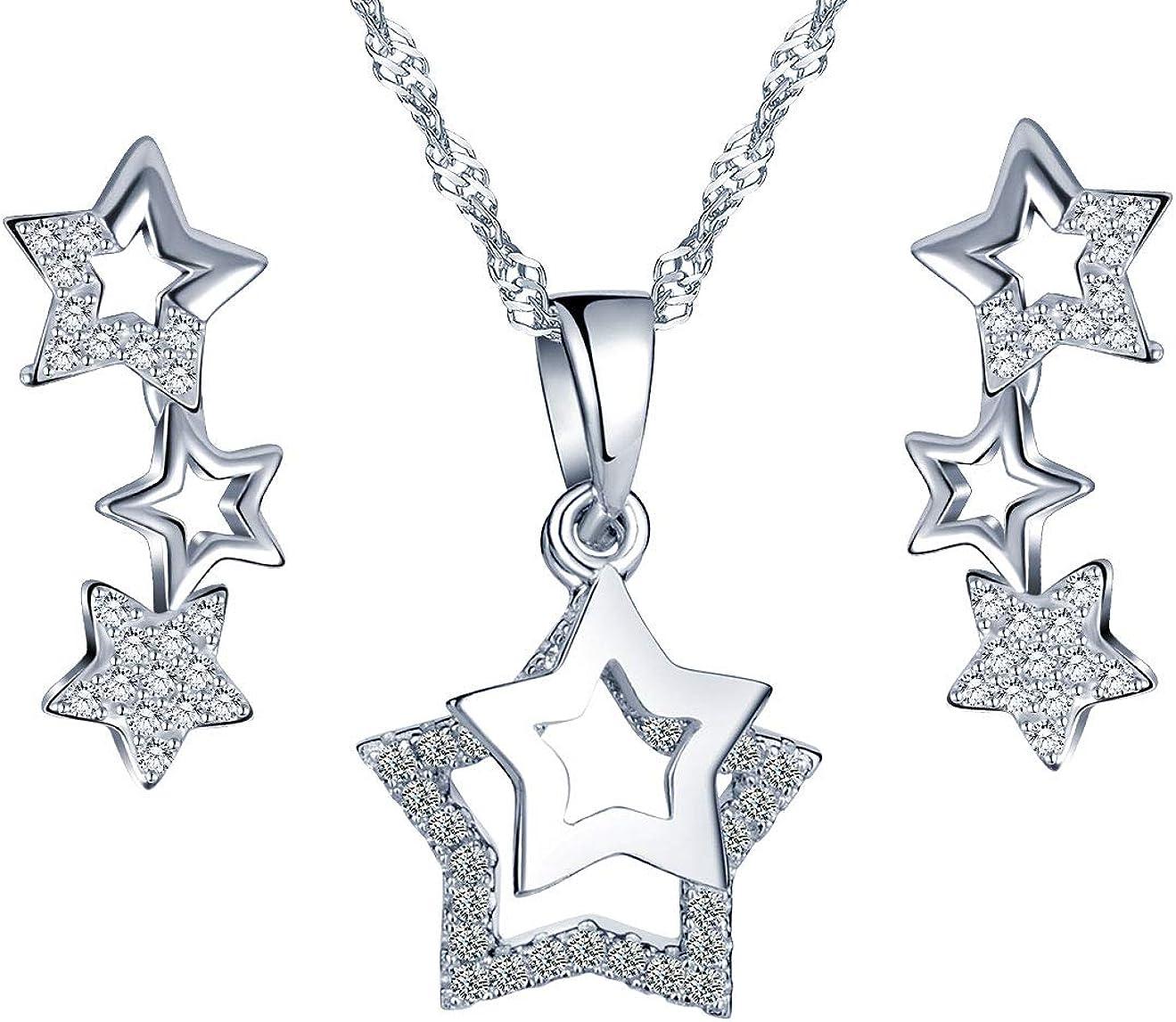 Collar de Plata esterlina 925, Colgante para niña Mujer, Anillo de Oreja de Estrella de Diamante, Decorado con circonita cúbica, Juegos de Joyas, Plata, Regalo de cumpleaños de Navidad
