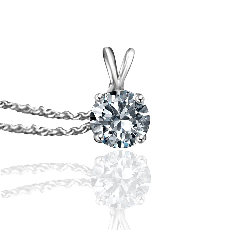 Diamond Veneer -14k (0.5CT) Fine Round Simulated Diamond Solitaire Pendant with 16'' Delicate Chain (White Gold)