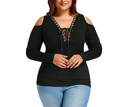 924adc73f038e Plus Size Cold Shoulder Ladies Tops Autumn Long Sleeve Cotton Blouse Lace Up  V Neck Ladies