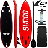 Inflatable SUP Stand Up Paddle Board Paddle(6 in Thick) Universal Accessories Wide Stance w/Bottom Fin Paddling Surf Control | Non-Slip Deck | Adjustable Paddle | Hand Pump w/Pressure Guage