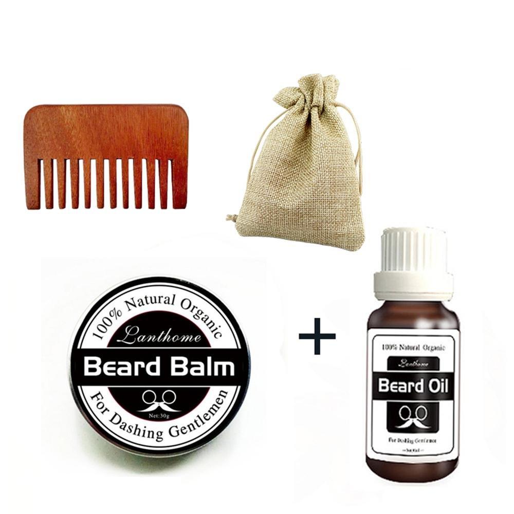 Pawaca Beard Grooming Care Kit, Natural Beard Balm, Natural Moustache Wax, Natural Beard Oil with Comb for Men's Beard Mustache Promotes Beard Growth and Shine