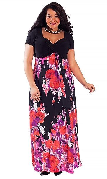 f65ea154bd8b6 IGIGI Women s Plus Size Jenna Maxi Dress in Caribbean Flush 22 24 ...