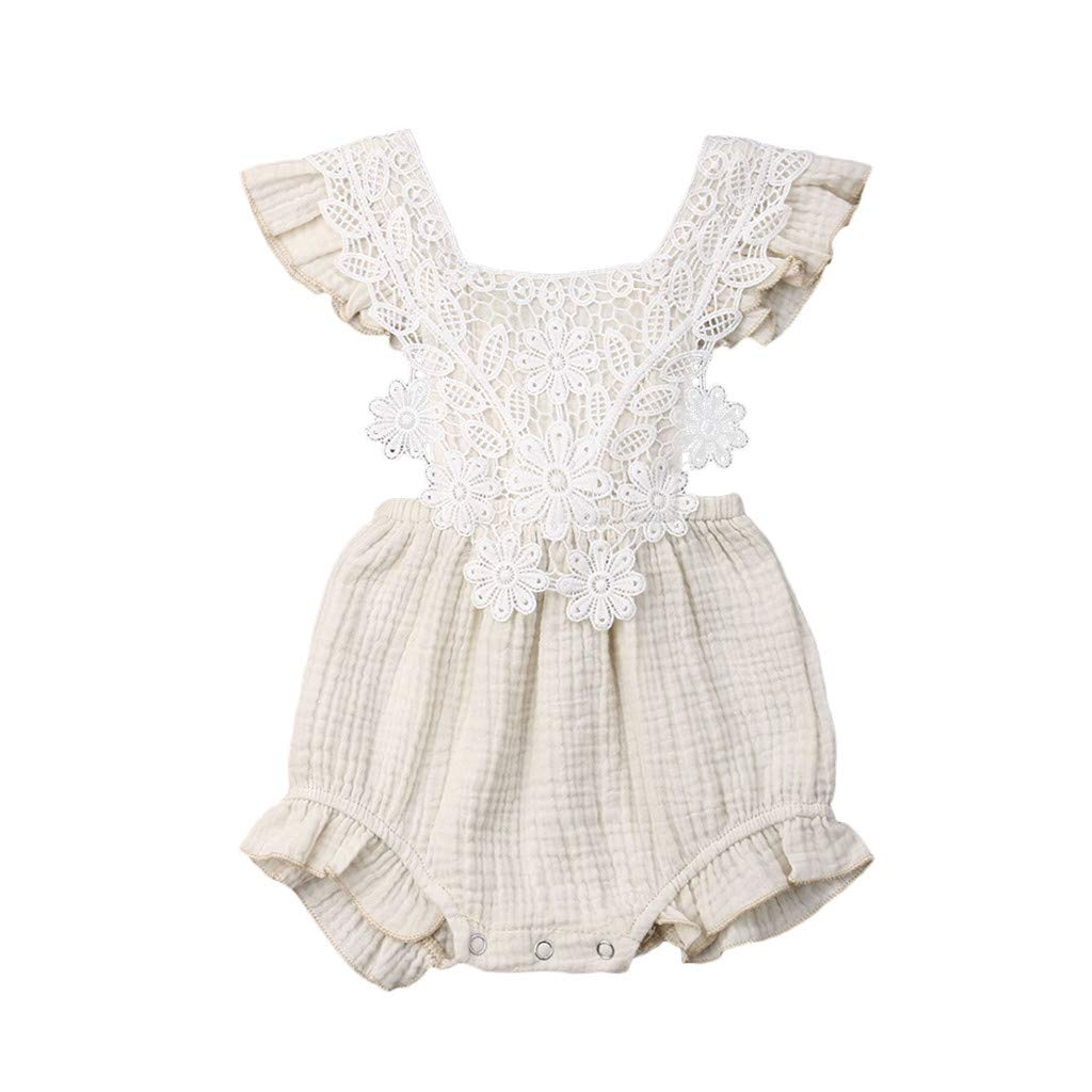 Infant Baby Girls Ruffle Romper,Jchen Baby Girls Lace Floral Lace Up Sleeveless Ruffle Playsuit Jumpsuit for 0-24 Months (Age:6-12 Months, Beige)