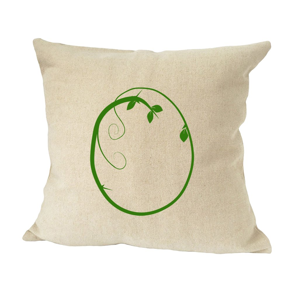 ''O '' Wood Branch Green Monogram Letter O Bed Home Decor Faux Linen Pillow Cover