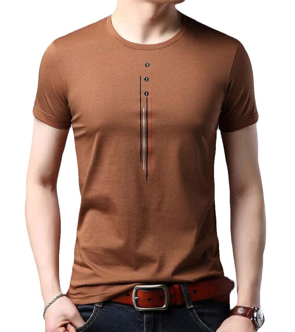 SELX Men Summer Short Sleeve Printed Crewneck Hipster Leisure Thin T-Shirt