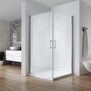 Cabina de ducha con puerta corredera, entrada en esquina, altura 195 cm, se abre hacia el interior y el exterior 180 °, cristal de seguridad de 6 mm con revestimiento de vidrio
