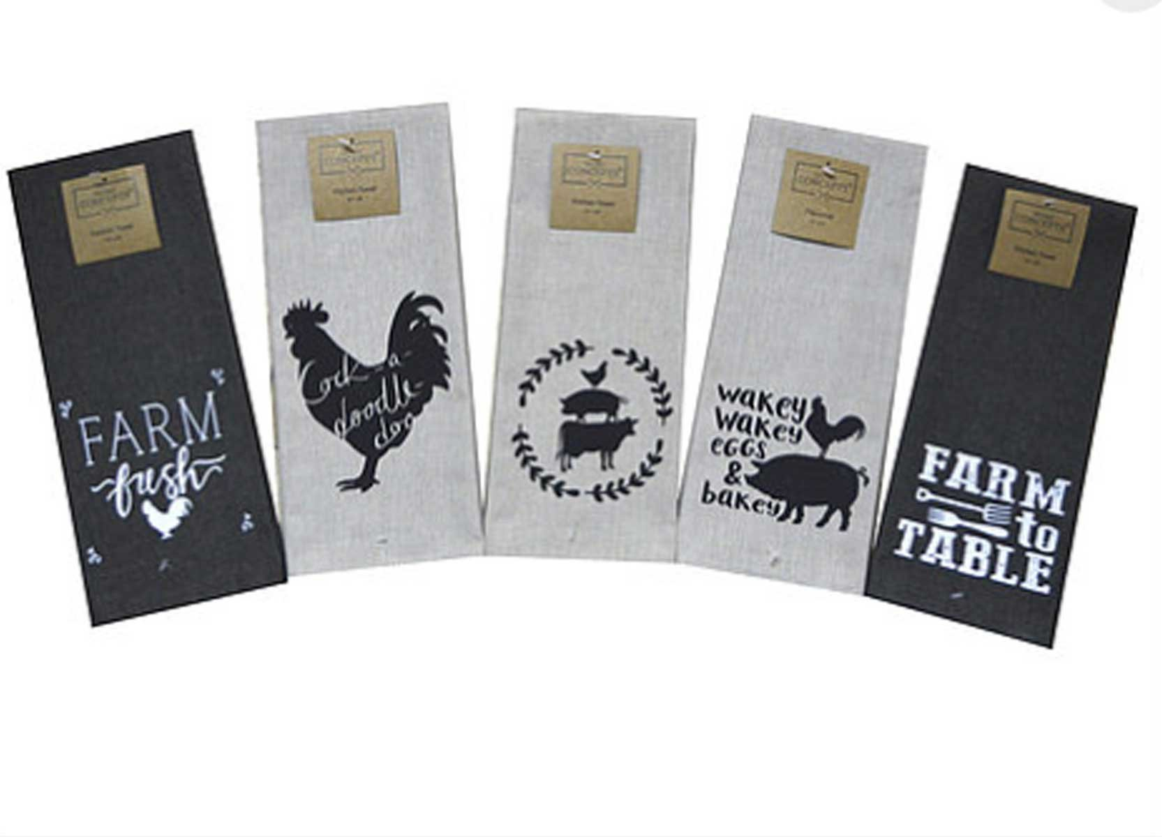 Twisted Anchor Trading Co Set of 5 Cute and Funny Farm Kitchen Towels - Dark Linen and Black Kitchen Towels Gift Set - Comes in Organza Gift Bag