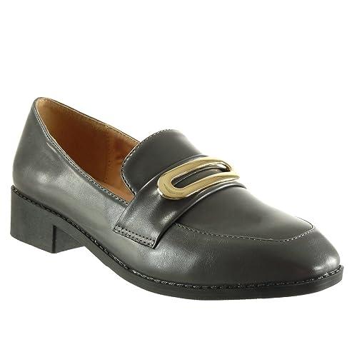 Angkorly - Zapatillas de Moda Mocasines slip-on mujer dorado tanga Talón Tacón ancho alto 3.5 CM: Amazon.es: Zapatos y complementos
