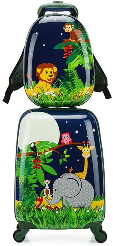 Children Rolling Travel Suitcase Set Animal Cartoon Kids Carry On Set Universal Wheels 18 in with 13 in Cute Cartoon Shoulder Bag Travel Luggage Case Set Elephant set