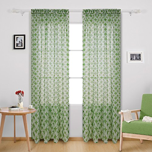 Deconovo Floral Pattern Rod Pocket Sheer Curtains Window Treatment Panels for Kitchen 52X84 Inch Green 2 ()