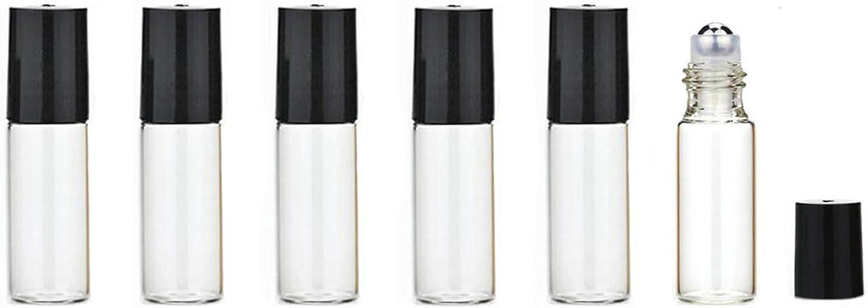 6PCS 0.17OZ Aceite Esencial Transparente Rollos de Rodillo Vial Botellas Embalaje Con Bolas Rodillo Acero Inoxidable Maquillaje Perfume Contenedores Almacenamiento Cosméticos Bálsamos para Labios