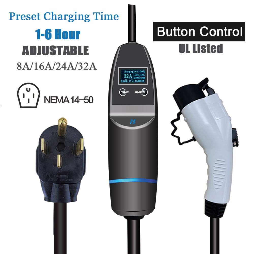 KHONS EVChargerLevel232Amp Upgraded ElectricVehicleCharger, 4X Fast Charging Cable (8/16/32A, NEMA 14-50 Plug) SAE J1772 for Home and Outdoor (Preset Time, Button Control, 240 Volt, 25ft) by K.H.O.N.S.