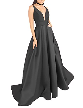 YSMei Womens Deep V Neck Prom Dress with Pockets Long Evening Dress Formal Gown Black 2