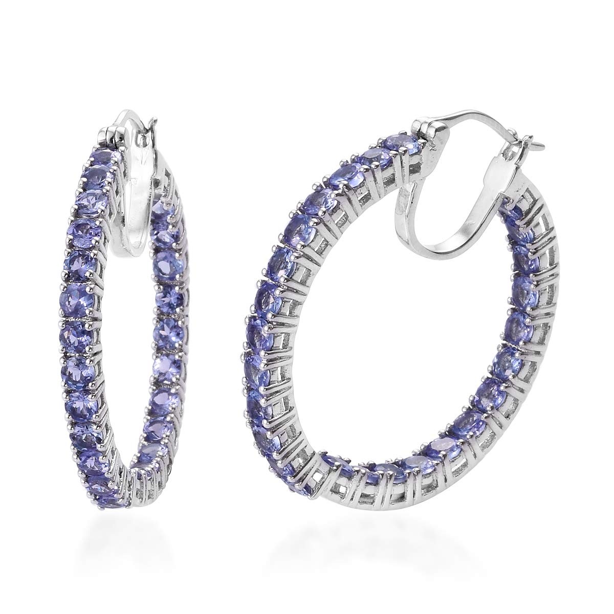 Round Tanzanite Hoops Hoop Earrings 925 Sterling Silver Platinum Plated Jewelry for Women Ct 5.8 by Shop LC Delivering Joy