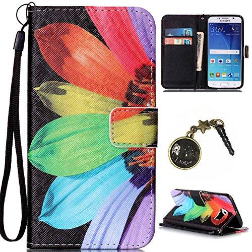 Para Smartphone Samsung Galaxy S6Funda Flip Cover Funda Piel [Tarjetero] funda piel cartera Executive Diseño + Polvo Conector negro 3 4