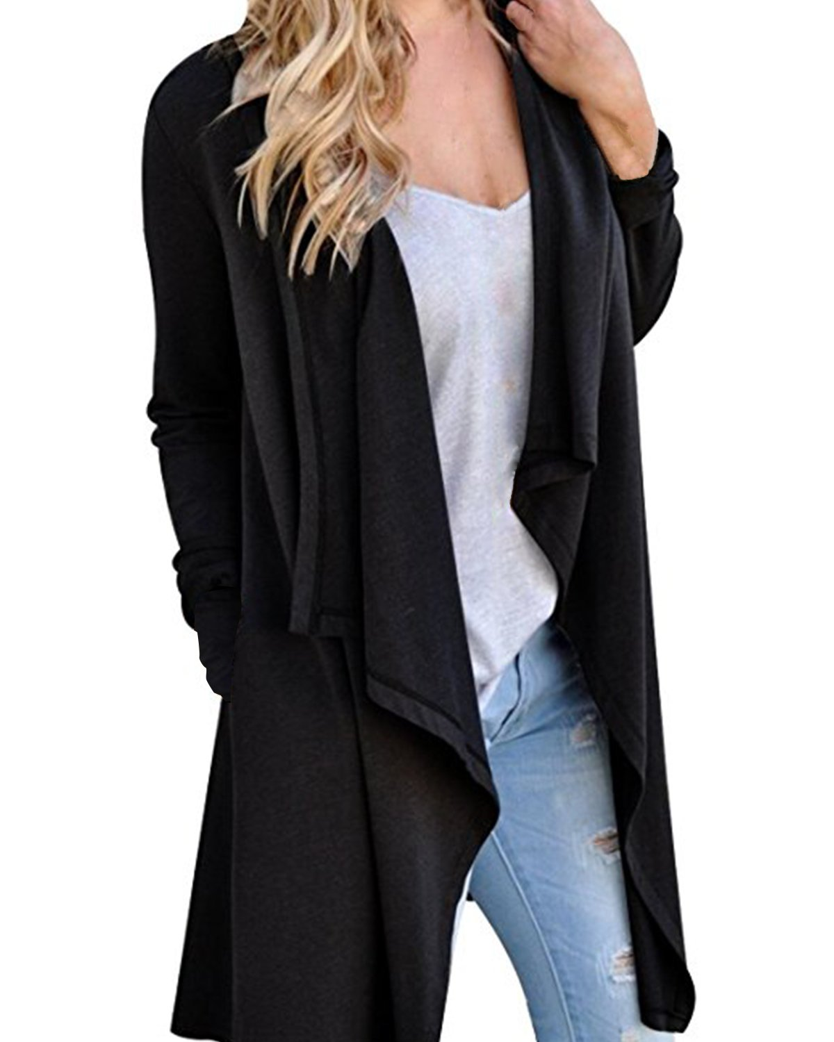StyleDome Women's Cardigans Long Sleeve Knitted Open Front Trench Coat Outwear Black S