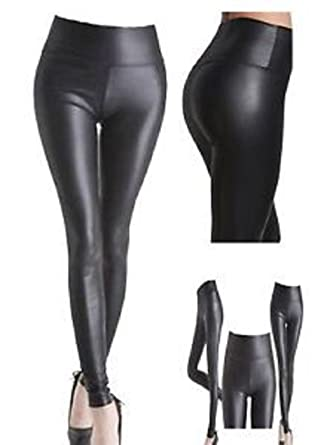 ff0575c3832 Women Ladies Normal High Waisted PVC Leather Wet Look Leggings Pants Plus  Size 8-24  Amazon.co.uk  Clothing