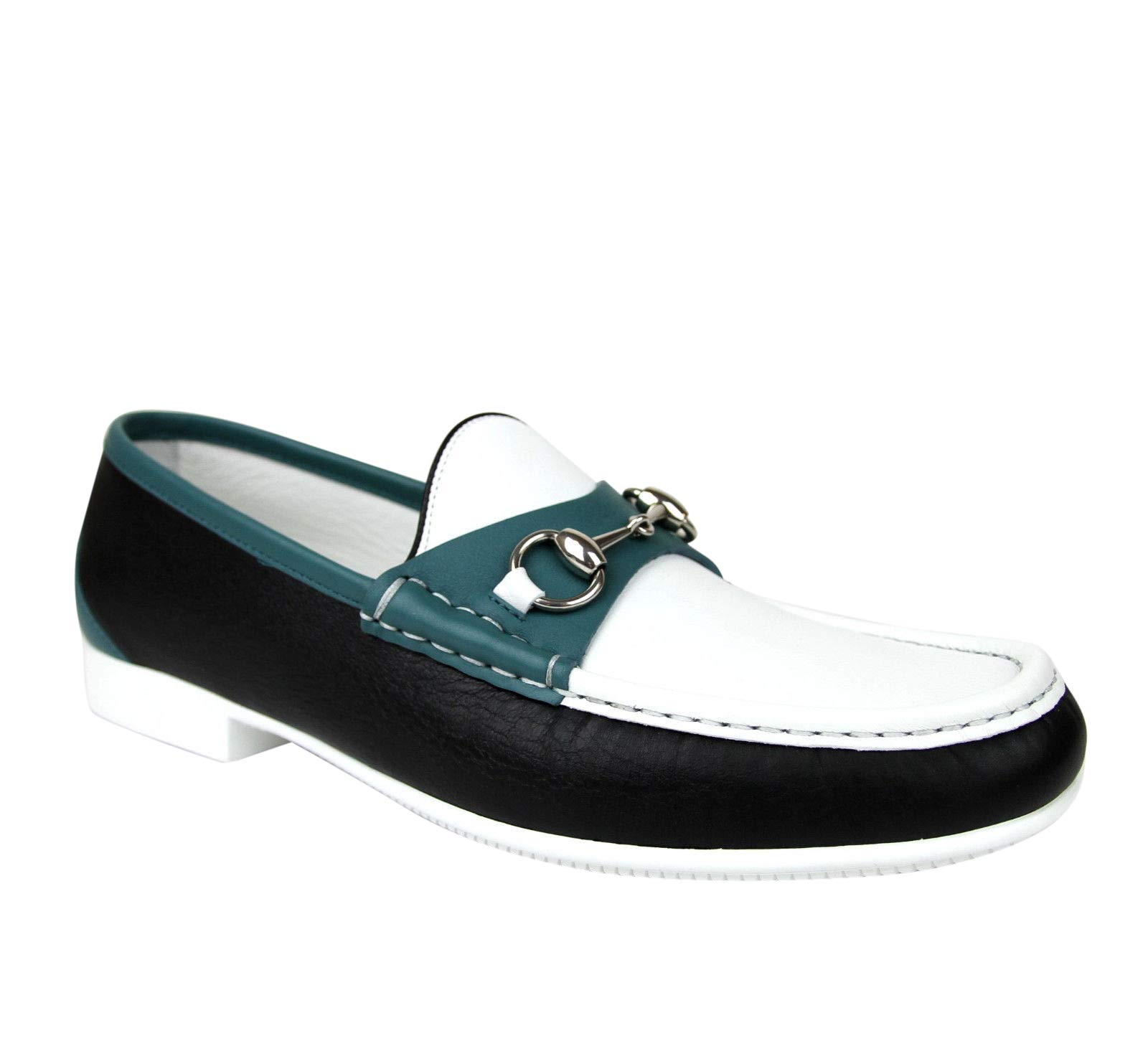 ee634357031 Gucci Horsebit White Black Blue Leather Loafer Moccasin 337060 AYO70 1067  (9.5 G