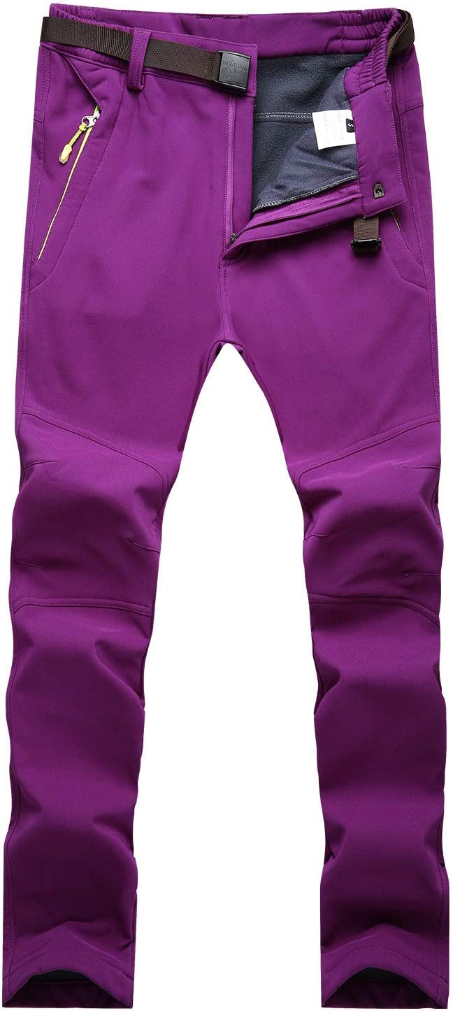 LUI SUI Femmes Coupe-Vent de randonn/ée Pantalon en Plein air Neige Ski p/êche Marche Polaire doubl/é Coque Souple Hiver Pantalon /à s/échage Rapide