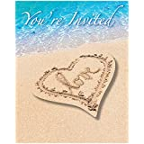 Creative Converting 8 Count Beach Love Party Invitations, Blue/Brown