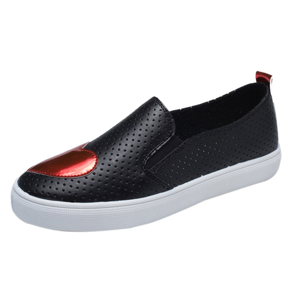 Clearance Sale Shoes For Shoes,Farjing Fashion Women Shoes Small White Shoes Heart-Shaped Breathable Casual Flats Shoes (US:6.5,Black)