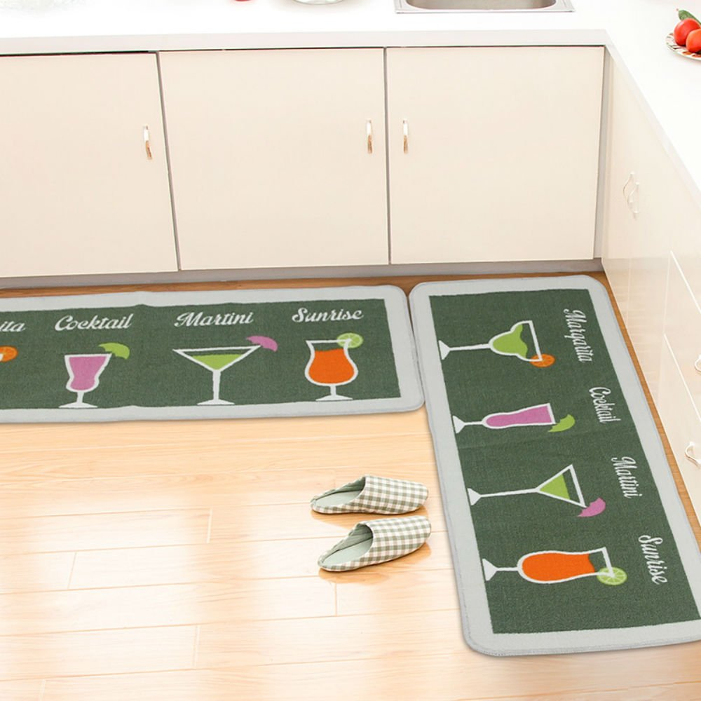 ANYU HOME 2 Piece Non-Slip Kitchen Mat Rubber Backing Doormat Runner Rug Set,Cocktail Design(Green 19.7''x31''+19.7''x47'')