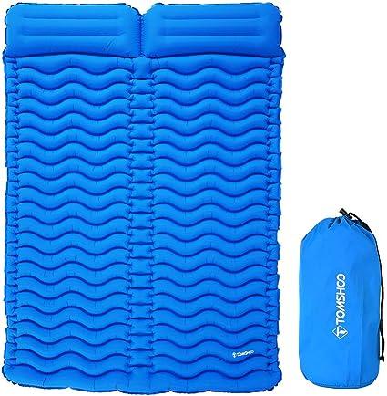 Tomshoo Tapis De Camping En Plein Air Avec Oreiller Ultra Léger Portable Matelas Simple 2 Personnes Matelas Gonflable Double Sleeping Pad Tampon