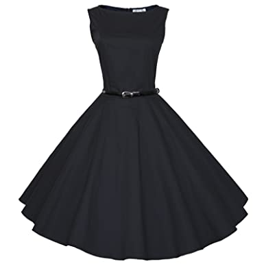 eb51b0042d3 Maggie Tang 50 60s Vintage Audrey Hepburn Swing Rockabilly Gown Dress Black  S
