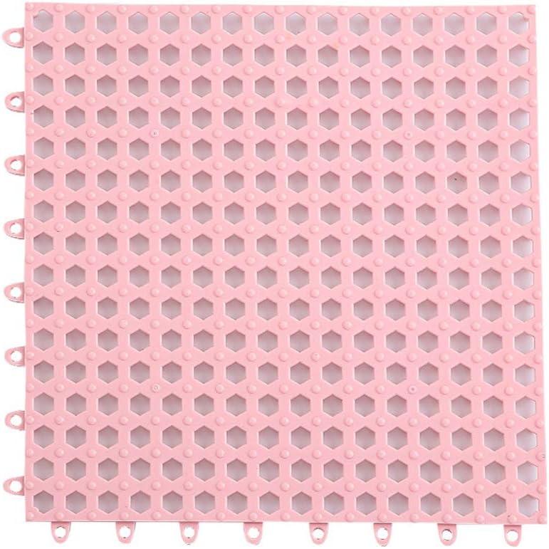 Creativee 4 Alfombrillas de Ducha Modulares Entrelazadas de 30 x 30 cm, Antideslizantes para Eempalme de Baldosas, Iimpermeables, para Drenaje, Piscina, Ducha, Baño, Cocina(Rosa)
